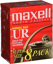 MAXELL UR-60 Blank 60-minute Audio Cassette Tape 8 pack 109085