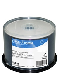 Falcon DVD-WHITE INKJET GLOSSY, WATER RESISTANT 4.7GB, 16X MPN# 3010306504000685