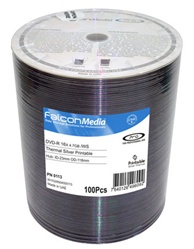Falcon Media DVD-SILVER SHINY HUB PRINTABLE 16X-100 count