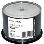Falcon DVD-R 4.7GB, 16X, White Inkjet Hub Printable MPN # 3010406504000097