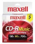 Maxell  CDR-80 MUSIC GOLD 5PK SLIM  CD-R (AUDIO ONLY) SLIM JEWEL