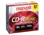 Maxell  CDR-80 MUSIC 10PK GOLD  CD-R (AUDIO ONLY) SLIM JEWEL