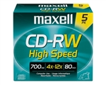 Maxell CD-RW HSPD 5PK  HIGH SP CD-RW SLIM JEWEL