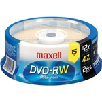 Maxell DVD-RW 4.7GB Rewritable 2x Recordable DVD Disc (Spindle Pack of 15)
