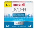 Maxell DVD-R 5PK  4.7GB DVD-R 10mm Jewelcase