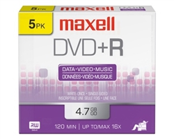 Maxell DVD+R 5PK  4.7GB DVD+R 10MM JEWEL