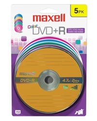 Maxell DVD+R Color 5PK Card  4.7GB DVD+R CARD