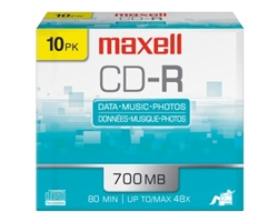 Maxell  CD-R 700 10PK   700MB CD-R SLIM JEWEL