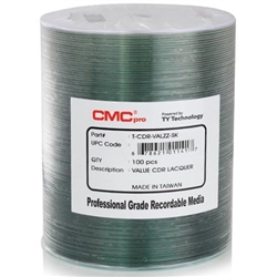 CMC Pro Taiyo Yuden (TCDR-VALZZ-SK) 52X CD-R Valueline Silver Lacquer Media - 100 Pack