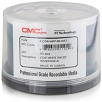 CMC Pro Taiyo Yuden (TCDR-WPP-SB-WS) WaterShield 52X CD-R White Inkjet Hub Printable Media - 50 Pack
