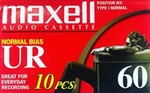 MAXELL UR-60 Blank 60-minute Audio Cassette Tape 10 pack