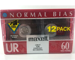 MAXELL UR-60 Blank 60-minute Audio Cassette Tape 12 pack